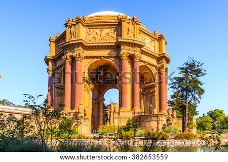 Palace of Fine Arts,  Marina District of San Francisco, California. U.S. National Register of Historic Places, 