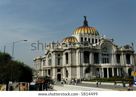 Palace of Fine Arts, Mexico City's premier opera house, is famous for  murals by Diego Rivera, Rufino Tamayo, David Alfaro Siqueiros, and Jose Clemente Orozco. - stock photo