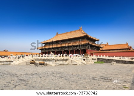 palace of heavenly purity in beijing forbidden city under the blue sky - stock photo