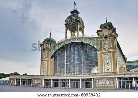 Palace of industry facade within the Incheba Expo area near Prague - stock photo