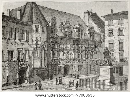 Palace of Justice old view, Grenoble, France. Created by Tilly, published on Magasin Pittoresque, Paris, 1882 - stock photo