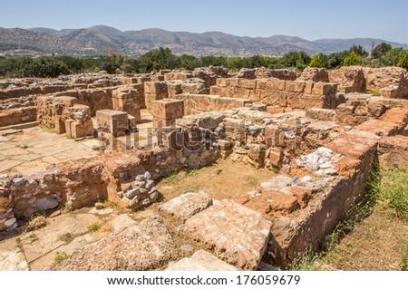palace of minoan period in Malia - stock photo