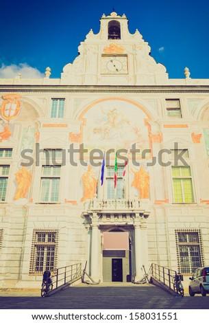 Palace of St George (Palazzo San Giorgio), Genoa, Italy vintage looking - stock photo