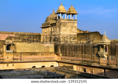 Palace of the Amber Fort near Jaipur, Rajasthan, India - stock photo