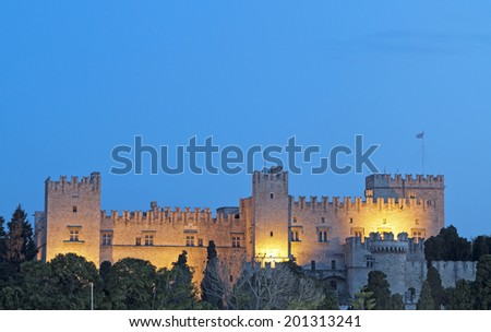 Palace of the Grand Master at Rhodes island in Greece - stock photo