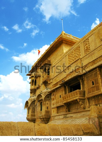 "Palace of the Maharaja in Jaisalmer, the magnificent ""Golden City"" in the heart of Rajasthan (India), surrounded by the desert of Thar. - stock photo"
