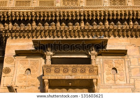 "Palace of the Maharajah in Jaisalmer, the magnificent ""Golden City"" in the heart of Rajasthan (India), surrounded by the desert of Thar - stock photo"