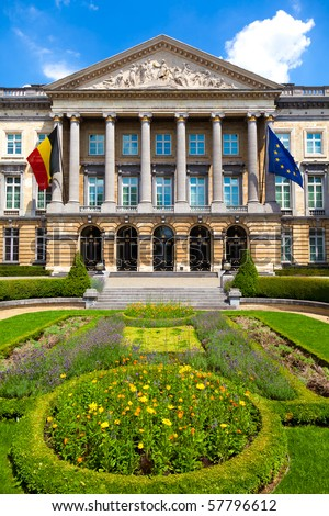 Palace of the Nation in Brussels (French: Palais de la Nation; Dutch: Paleis der Natie) - seat of the Belgian Federal Parliament - stock photo