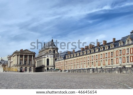 Palace of Versailles. Chapel at the center. - stock photo