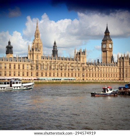 Palace of Westminster and Thames river in London, UK. - stock photo