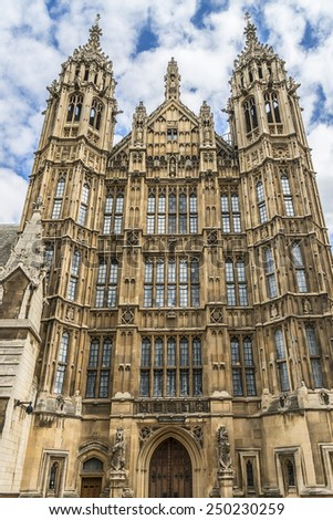 Palace of Westminster fragment (known as Houses of Parliament) located on bank of River Thames in City of Westminster. London, UK. - stock photo