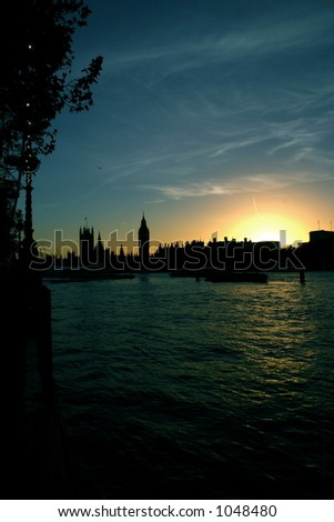 Palace of Westminster from the banks of the thames