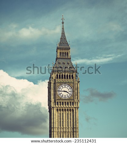 Palace of Westminster (Houses of Parliament) Elizabeth Tower (Big Ben clock tower), vintage style, London, United Kingdom  - stock photo