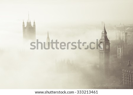 Palace of Westminster in fog, bird's eye view, seen from the sky