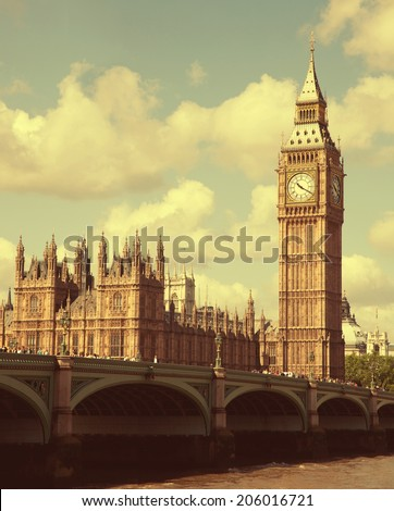 Palace of Westminster in London, UK. Toned image  - stock photo