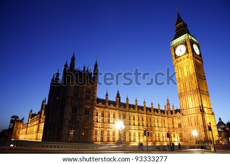 Palace of Westminster, seen from Westminster Bridge, at Night - stock photo