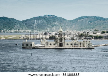 Palace on Ilha Fiscal in the harbour of Rio de Janeiro, Brazil - stock photo