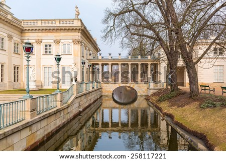 Palace on the Water in Royal Baths Park of Warsaw, Poland - stock photo