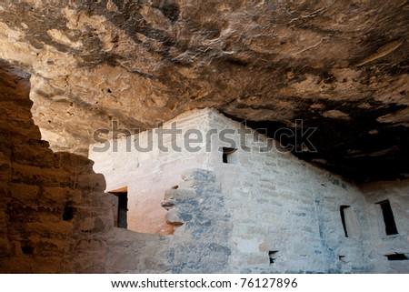 Palace ruins in Mesa Verde National park, Colorado - stock photo
