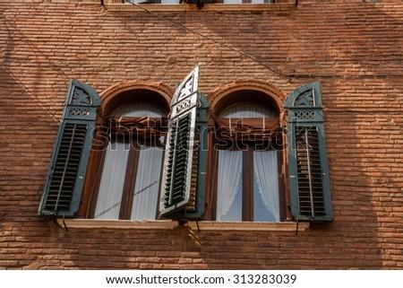 Palaces of the historic center of Verona , Verona , Veneto , Italy - stock photo