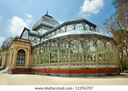 Palacio de cristal parque del retiro stock photo 51296707 for Parques de madrid espana