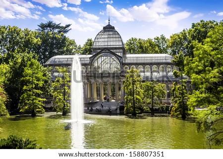 Palacio de Cristal in the Parque del Retiro, Madrid, Spain  - stock photo