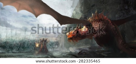 paladin with army fighting dragon - stock photo