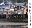 Palafito houses above the water in Castro, Chiloe, Chile - stock photo