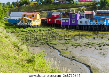Palafitos (stilt houses) in Castro, Chiloe island, Chile - stock photo