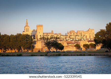 Palais des Papes in Avignon at summer sunset, Vaucluse, Provence, France