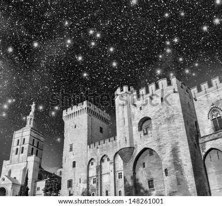 Palais des Papes - Palace of the Popes at night - in Avignon, France. - stock photo