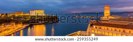 Palais du Pharo and Fort Saint-Jean in Marseille, France - stock photo