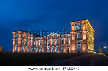 Palais du Pharo in Marseille by night - France - stock photo