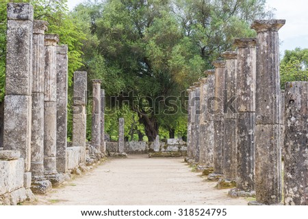 Palaistra (wrestling grounds), ruins of the ancient city of Olympia, Greece - stock photo