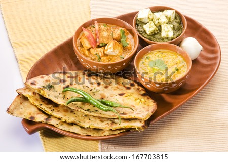 Palak Paneer, Dal with Paratha, Indian Food - stock photo