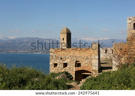 Palamidi Castle in Nafplion center, a greek town at Peloponnese peninsula.