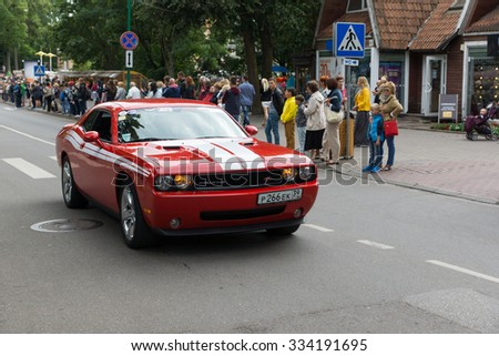 PALANGA, LITHUANIA - AUGUST 01: the car of the American production participates in American Spirit Pearl Rally 2015 on August 01, 2015 in Palanga, Lithuania
