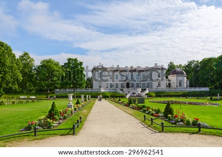 PALANGA, LITHUANIA - JULY 12, 2015: Unidentified people walk in the park near the Amber Museum in Palanga, Lithuania