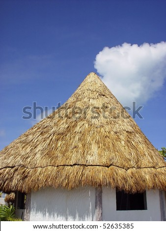 palapa wooden cabin palm leaves roof traditional Mayan hut house