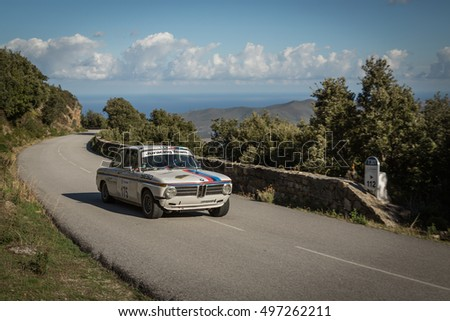 PALASCA, CORSICA - 7th OCTOBER 2016. C Bolard & P Ferrier compete in their BMW 2002 TI at the 2016 Tour de Corse Historique near Palasca in Corsica