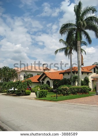 Palatial tropical homes with palm trees. - stock photo