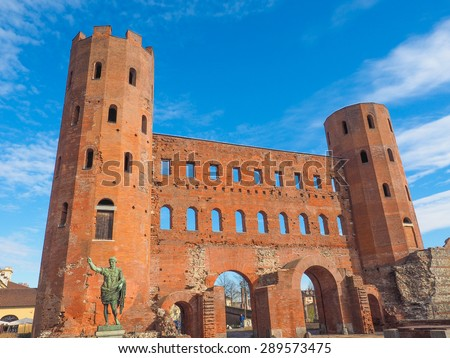 Palatine towers Porte Palatine ruins of ancient roman town gates in Turin - stock photo