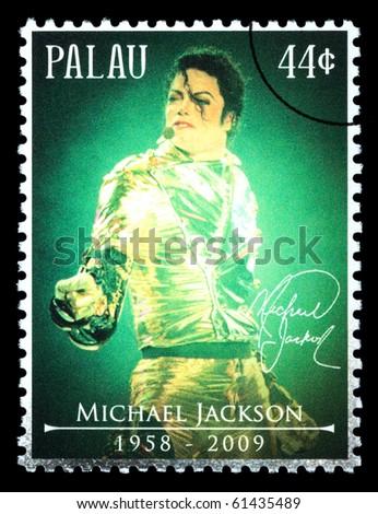 PALAU - CIRCA 2010: A postage stamp printed in Palau showing Michael Jackson, circa 2010 - stock photo