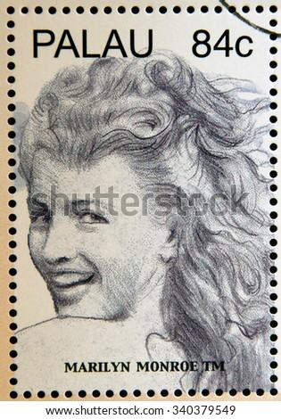 PALAU - CIRCA 2006: Stamp shows Marilyn Monroe - stock photo
