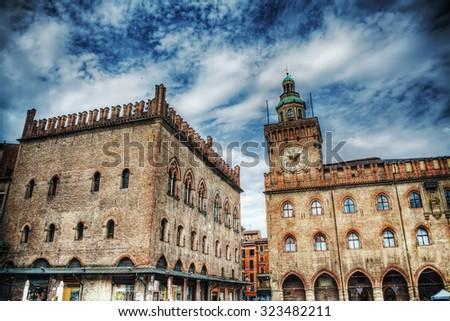Palazzo dei Notai and Palazzo d'Accursio in Bologna, Italy - stock photo