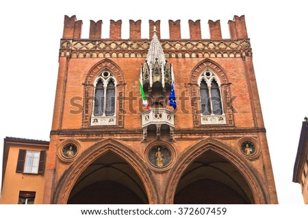 Palazzo della Mercanzia, beautifull example of late gothic renaissance architecture built at 1384. at downtown of Bologna,Italy - stock photo