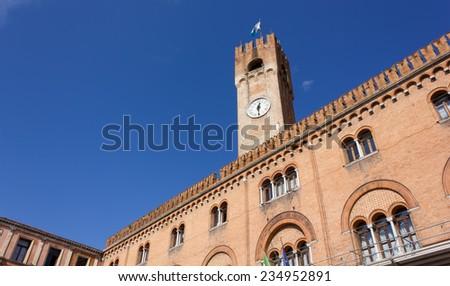 Palazzo della Prefettura and Civic Tower in Treviso, Italy - stock photo