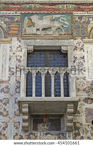 Palazzo details in Venetian style - stock photo