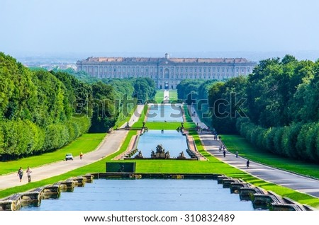Palazzo Reale in Caserta on June 1, 2014. It was the largest palace erected in Europe during the 18th century. - stock photo