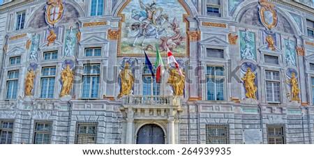 Palazzo san Giorgio decorated medieval building in Genoa Italy - stock photo